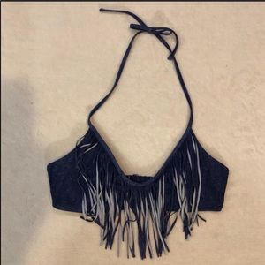 aerie Denim Look Fringe Halter Bikini Top LgNWOT